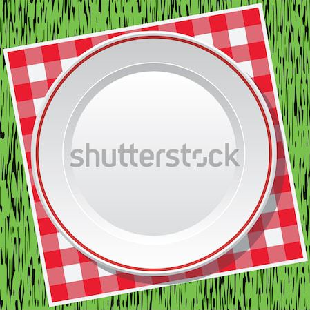 vector picnic tablecloth and empty plate Stock photo © freesoulproduction