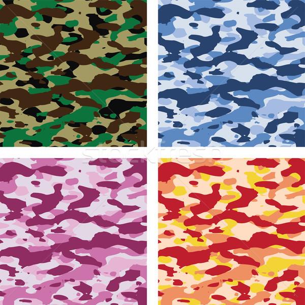 Wektora kolorowy kamuflaż wzorców pory roku Zdjęcia stock © freesoulproduction