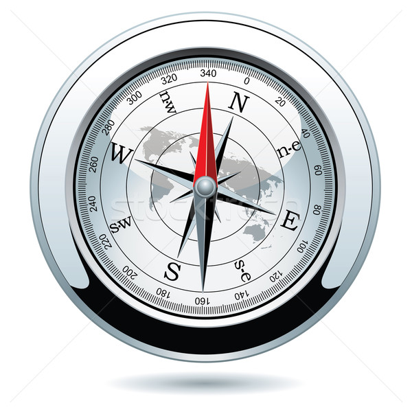 vector shiny silver compass  Stock photo © freesoulproduction