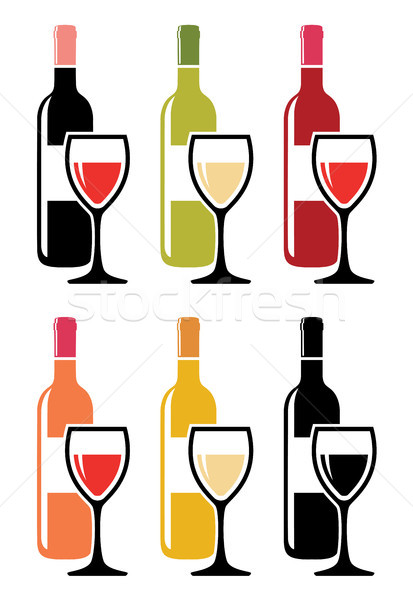 vector set of colorful icons of red wine bottles with wine glass Stock photo © freesoulproduction