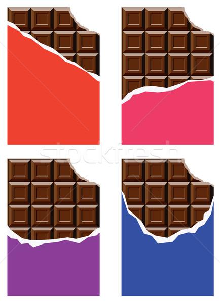 ストックフォト: ベクトル · コレクション · チョコレート · バー · 紙 · デザイン