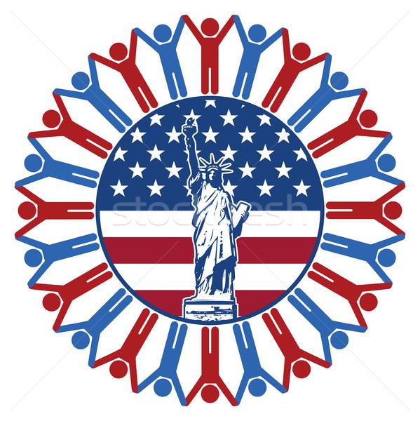 Vektor ikon zászló Egyesült Államok Amerika szobor Stock fotó © freesoulproduction