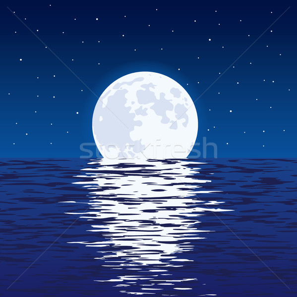 vector background of blue sea and full moon at night Stock photo © freesoulproduction