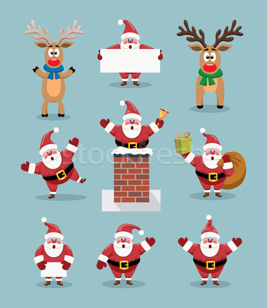 Vector collectie cute cartoons kerstman rendier Stockfoto © freesoulproduction