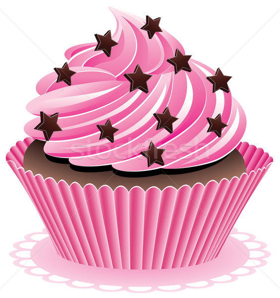 Stock photo: vector pink cupcake