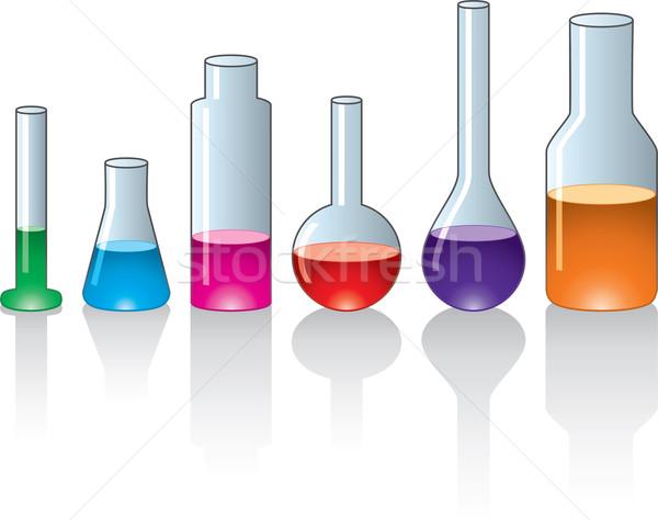 Stock fotó: Vektor · szett · laboratórium · üvegáru · orvosi · oktatás