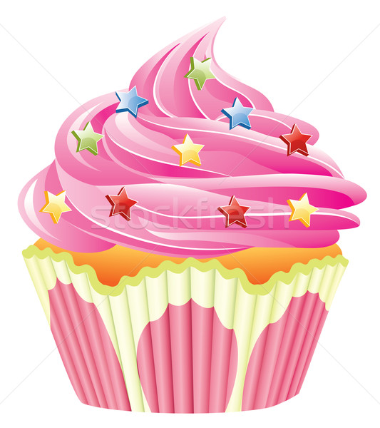 Vektor rosa Cupcake home Kuchen blau Stock foto © freesoulproduction