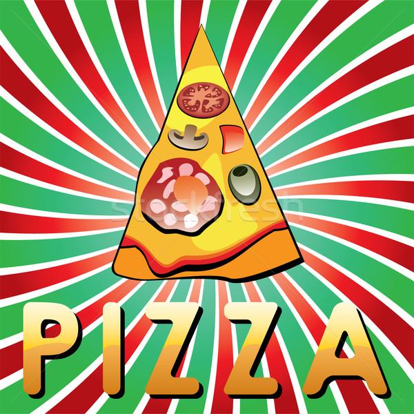 Vettore italiana pizza slice lucido retro alimentare Foto d'archivio © freesoulproduction