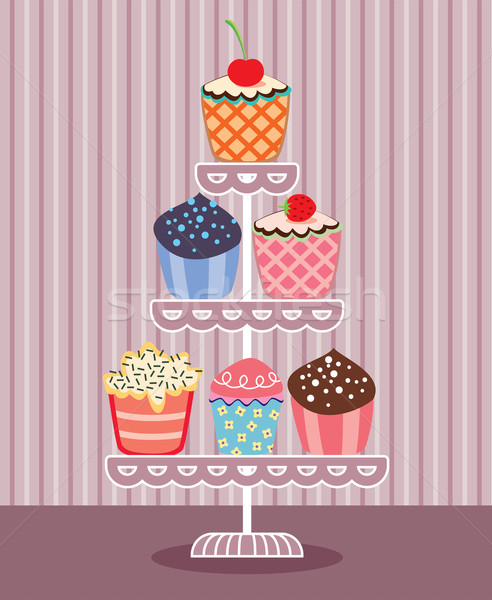 Foto stock: Vector · stand · establecer · frutas · chocolate