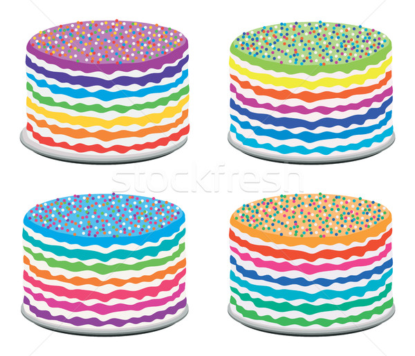 vector set of colorful rainbow cakes Stock photo © freesoulproduction