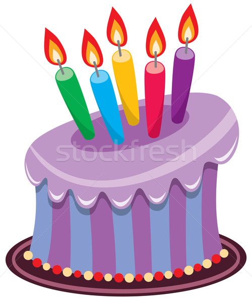 birthday cake with burning candles Stock photo © freesoulproduction