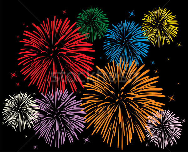 Vecteur coloré feux d'artifice noir heureux résumé Photo stock © freesoulproduction