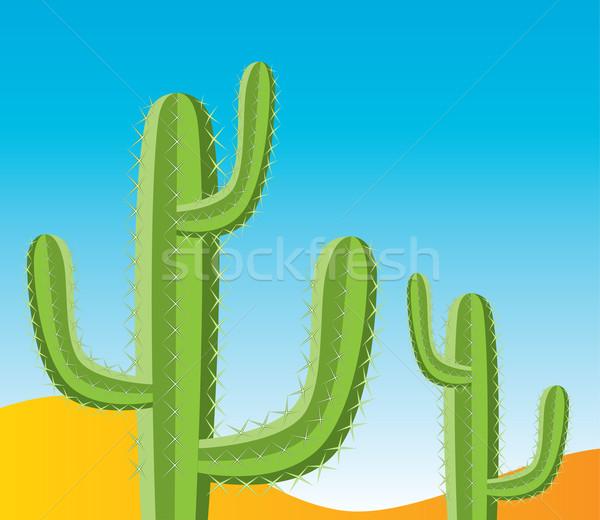Vetor cacto deserto paisagem arte laranja Foto stock © freesoulproduction