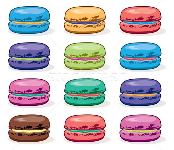 Vettore clipart raccolta colorato macarons alimentare Foto d'archivio © freesoulproduction