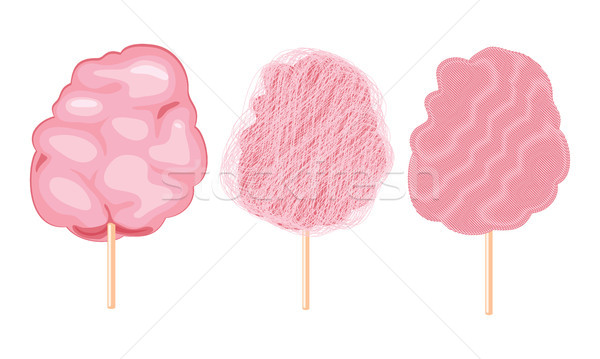 vector candy cotton set isolated on white background. sweet fluf Stock photo © freesoulproduction
