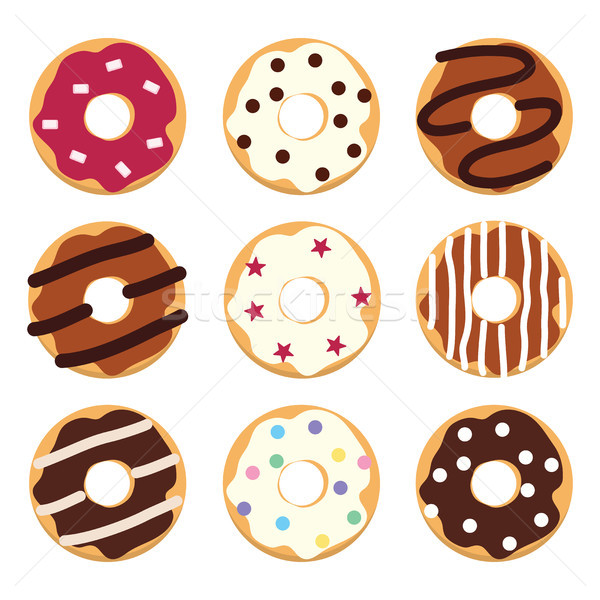 Stockfoto: Vector · stijl · iconen · kleurrijk · donuts · moderne
