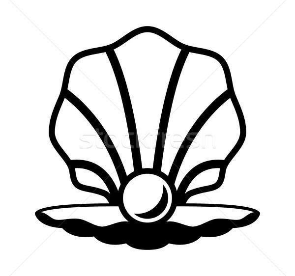 Vektör inci kabuk siyah beyaz ikon moda Stok fotoğraf © freesoulproduction