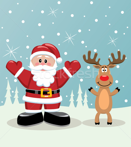 santa and rudolph deer Stock photo © freesoulproduction