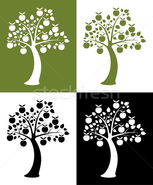вектора набор яблоко деревья природы фрукты Сток-фото © freesoulproduction
