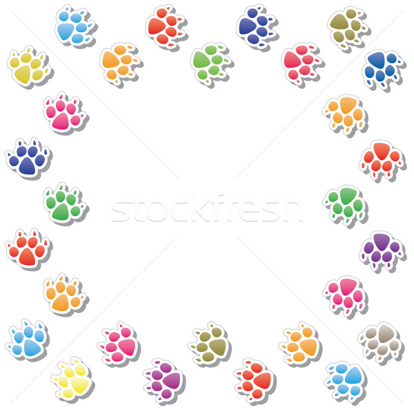 vector frame of dog's foot prints Stock photo © freesoulproduction