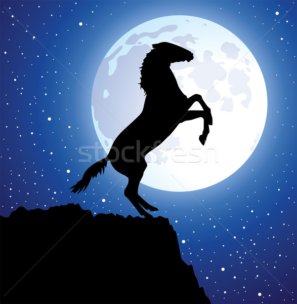 vector horse on top of the mountain and a moon  Stock photo © freesoulproduction