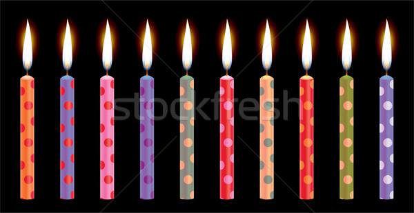 Vector colorido velas de cumpleaños fiesta feliz fondo Foto stock © freesoulproduction