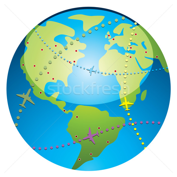 airplane flight paths over earth  Stock photo © freesoulproduction