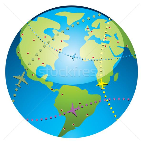 самолет полет земле вектора мира город Сток-фото © freesoulproduction