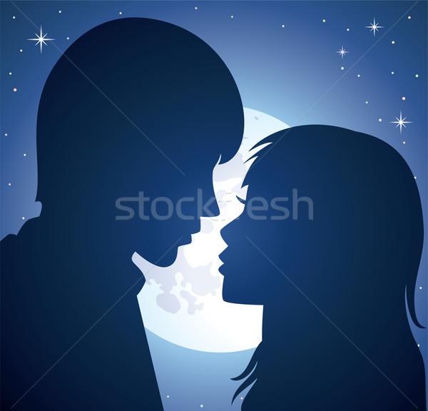 ストックフォト: ベクトル · 若い男 · 女性 · シルエット · 光 · 月
