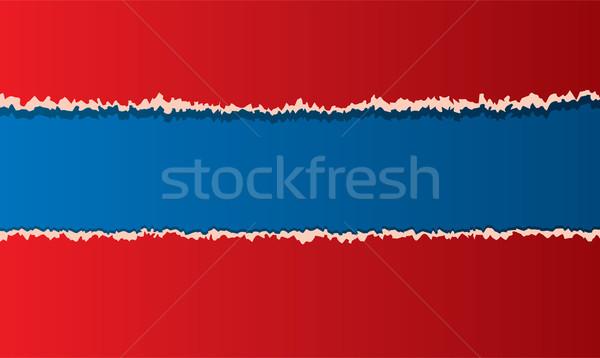 вектора рваной бумаги дизайна искусства синий красный Сток-фото © freesoulproduction
