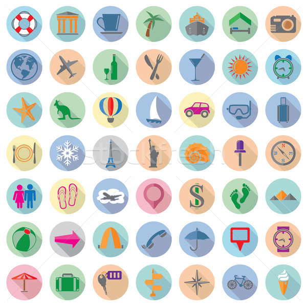 vector set of colorful travel flat icons  Stock photo © freesoulproduction