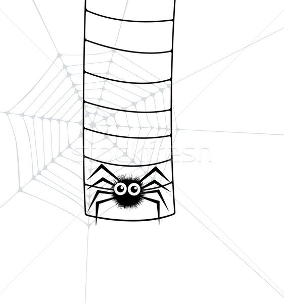 örümcek ağı merdiven sanat ağ siyah siluet Stok fotoğraf © freesoulproduction