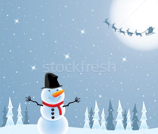 ストックフォト: ベクトル · 雪だるま · 飛行 · サンタクロース · クリスマス · 実例