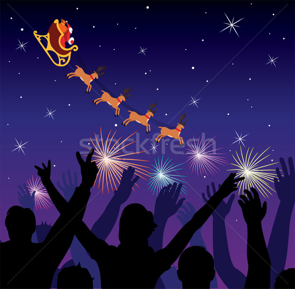 vector people saluting flying santa Stock photo © freesoulproduction