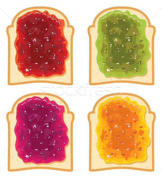 ストックフォト: ベクトル · セット · 白パン · スライス · フルーツ · ジャム