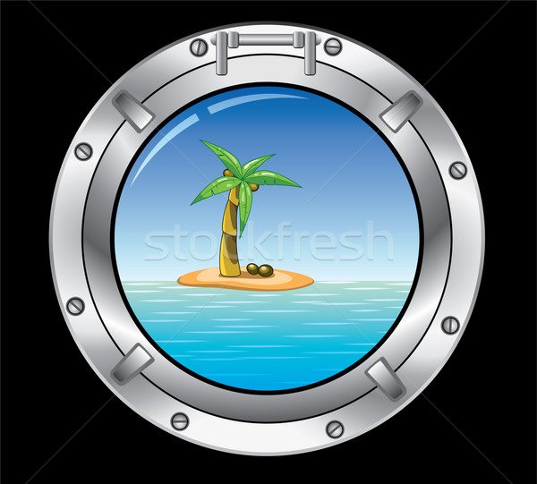 metal porthole and palm tree  Stock photo © freesoulproduction
