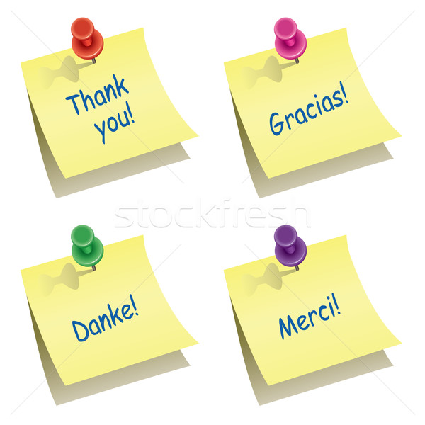 vector paper notes with push pin and thank you words Stock photo © freesoulproduction