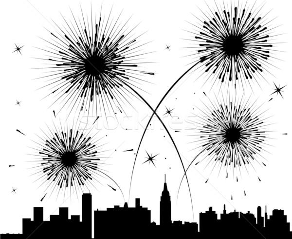 Stockfoto: Vector · vuurwerk · stad · hemel · gelukkig · abstract