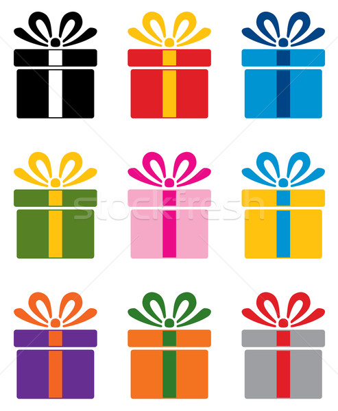 Vector set of colorful gift box symbols vector illustration add to lightbox download comp negle