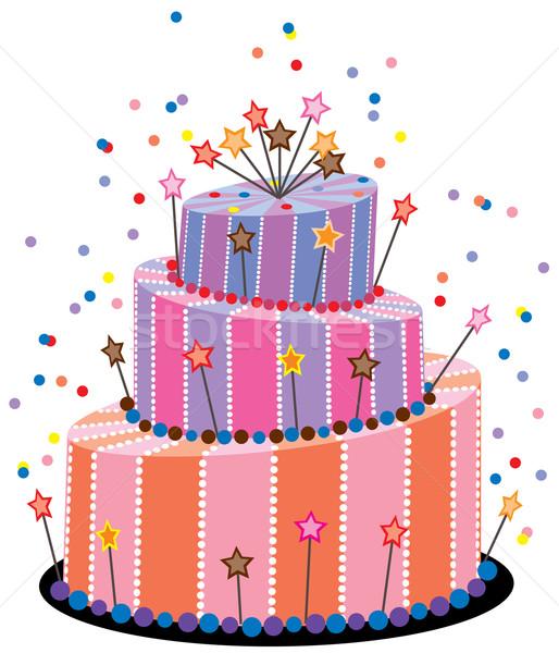 Vektör büyük doğum günü pastası gıda parti mutlu Stok fotoğraf © freesoulproduction