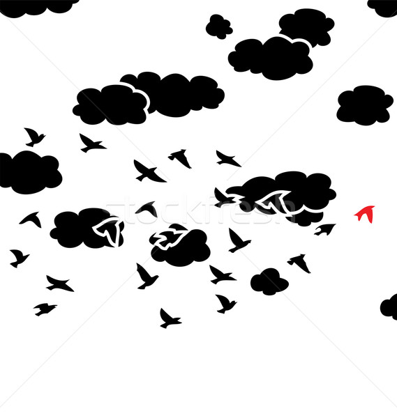 Vector blanco negro vuelo aves nubes cielo Foto stock © freesoulproduction