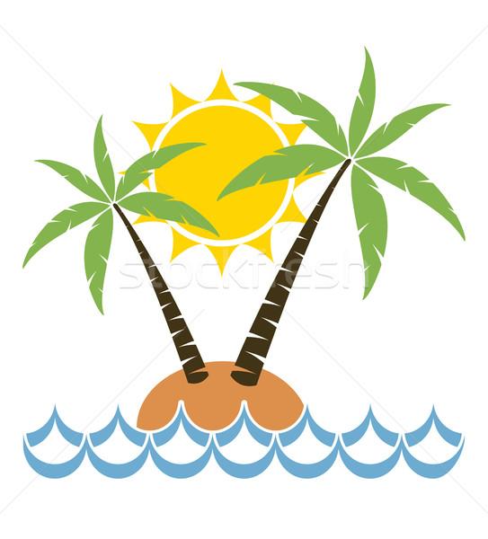 Vector cartoon palmboom klein eiland reizen Stockfoto © freesoulproduction
