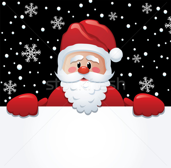 vector santa holding blank paper for your text Stock photo © freesoulproduction