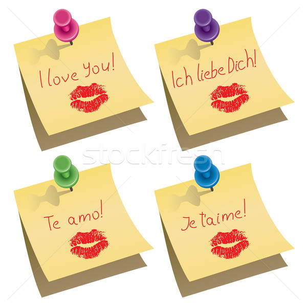 vector yellow paper notes with push pin and I love you words Stock photo © freesoulproduction