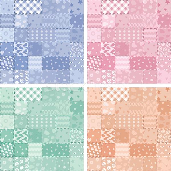 Vecteur patchwork tissu ensemble minable Photo stock © freesoulproduction