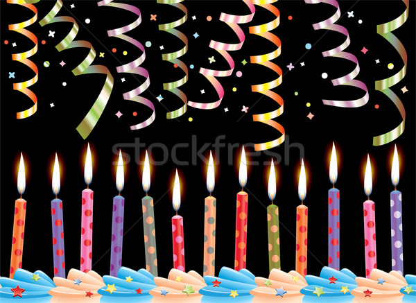 vector birthday candles and streamers Stock photo © freesoulproduction