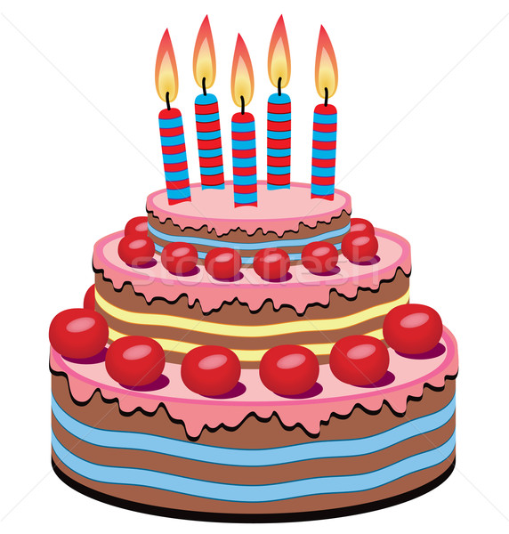Vector Birthday Cake Vector Illustration C Dmitry Merkushin