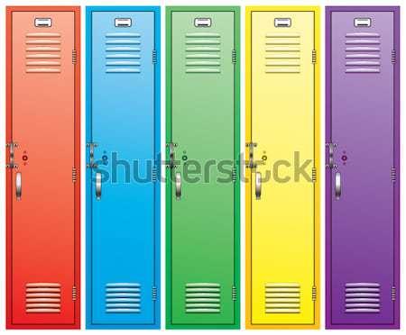 Stock photo: vector colorful metal school lockers