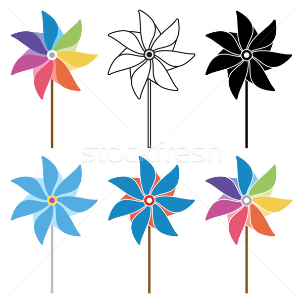 vector colorful and black and white pinwheel set Stock photo © freesoulproduction