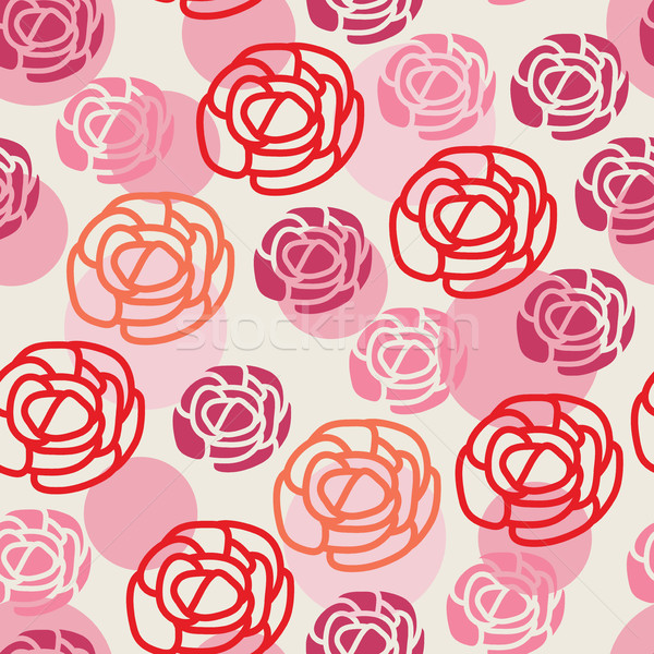 Stock photo: vector seamless floral pattern with symbols of roses